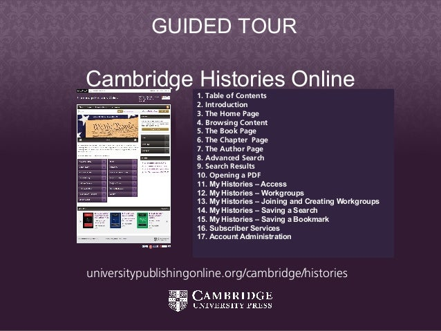 Cambridge Histories Online - Guided Tour