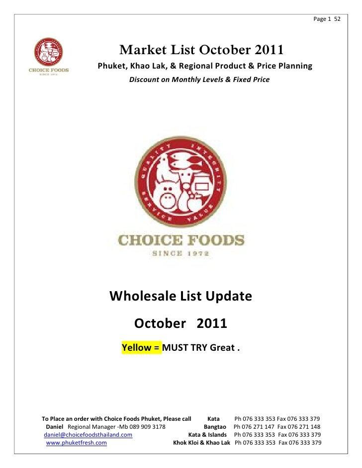 Page 1 52                           Market List October 2011                   Phuket, Khao Lak, & Regional Product & Pric...