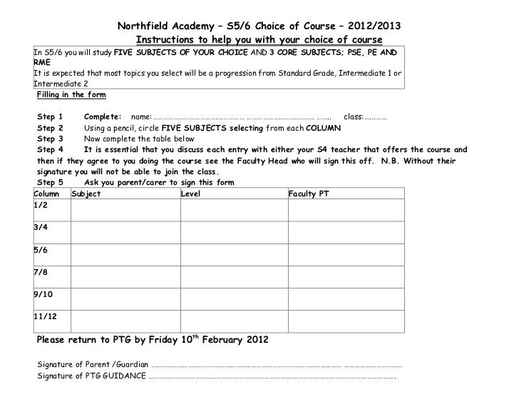 Northfield Academy – S5/6 Choice of Course – 2012/2013                          Instructions to help you with your choice ...