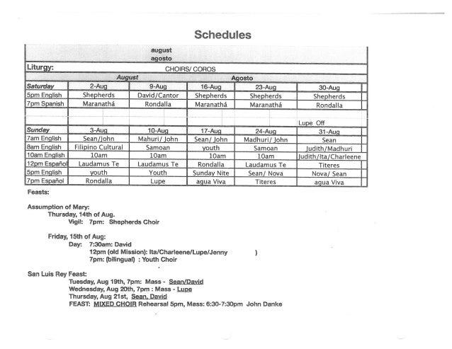 Choir Schedule for August 2014