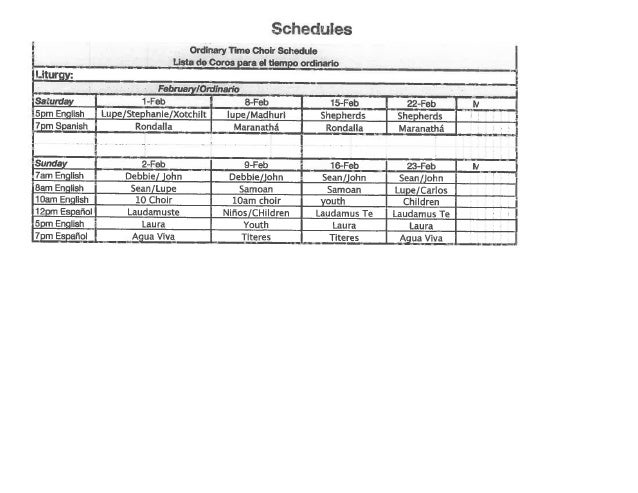 Choir Schedule for February 2014