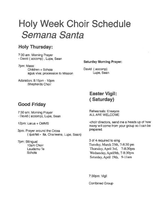 Choir Holy Week Schedule for  2014