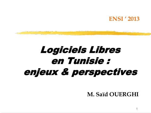 1 Logiciels Libres en Tunisie : enjeux & perspectives M. Saïd OUERGHI ENSI ' 2013