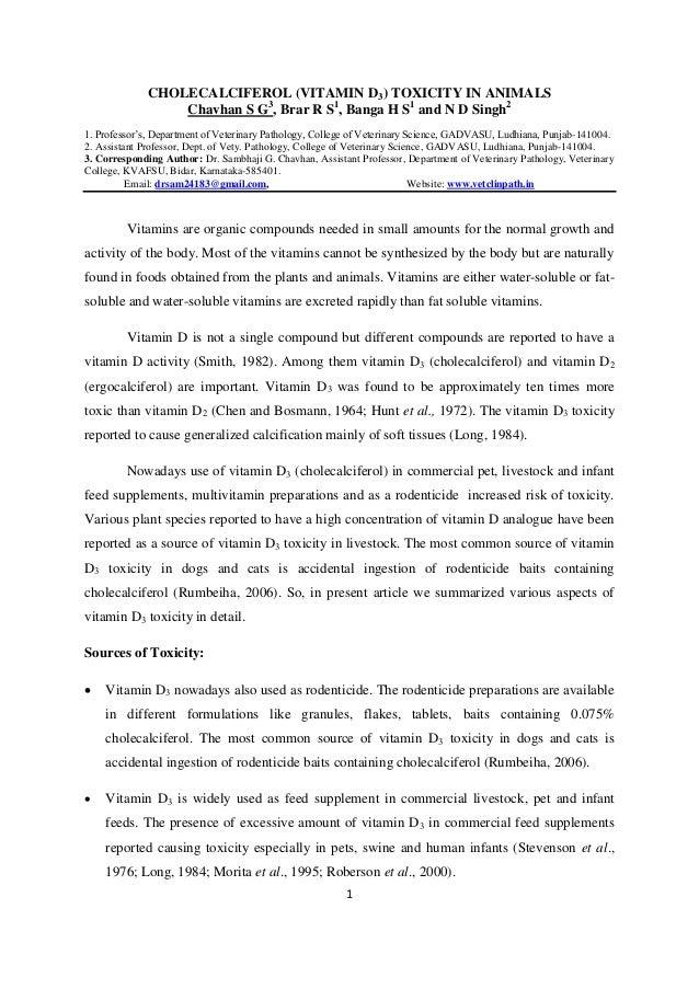 1CHOLECALCIFEROL (VITAMIN D3) TOXICITY IN ANIMALSChavhan S G3, Brar R S1, Banga H S1and N D Singh21. Professor's, Departme...