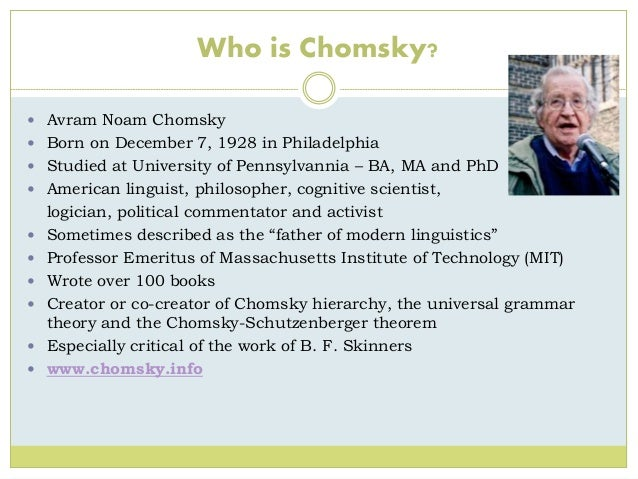 chomsky�s and skinner�s theory of language acquisition