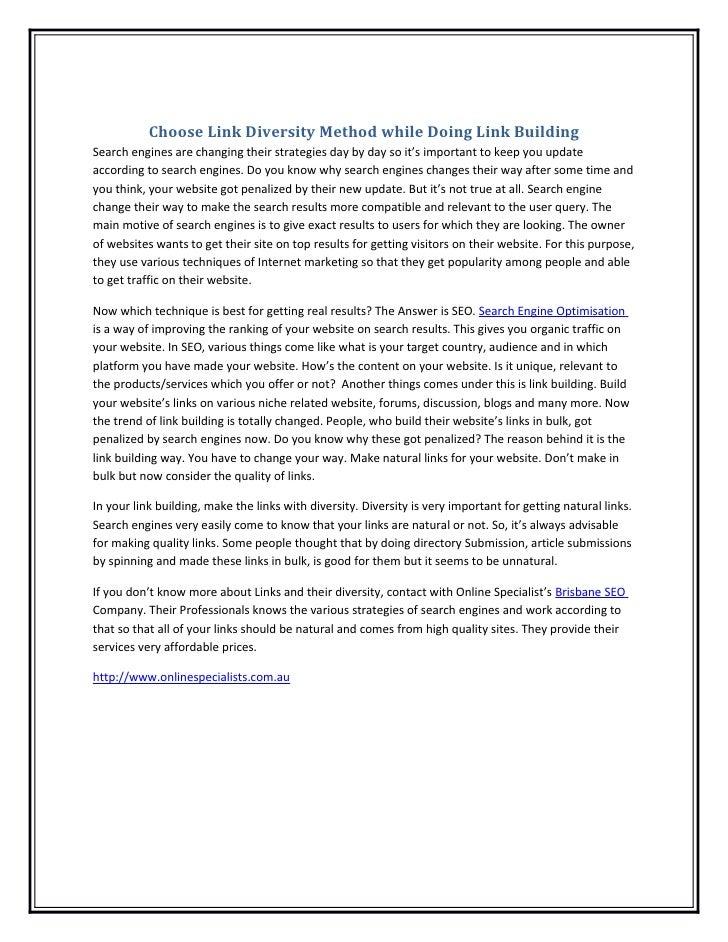 Choose link diversity method while doing link building