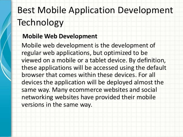 Hybrid Technology in Mobiles Technology Mobile Web