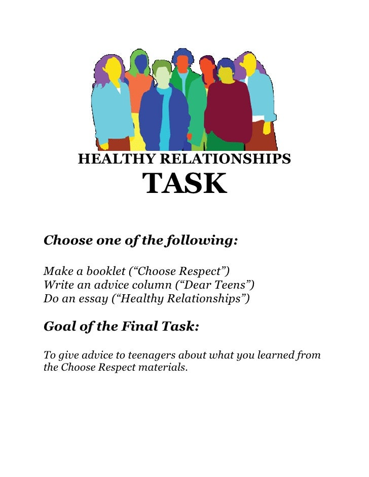 "HEALTHY RELATIONSHIPS                     TASK Choose one of the following:  Make a booklet (""Choose Respect"") Write an ad..."