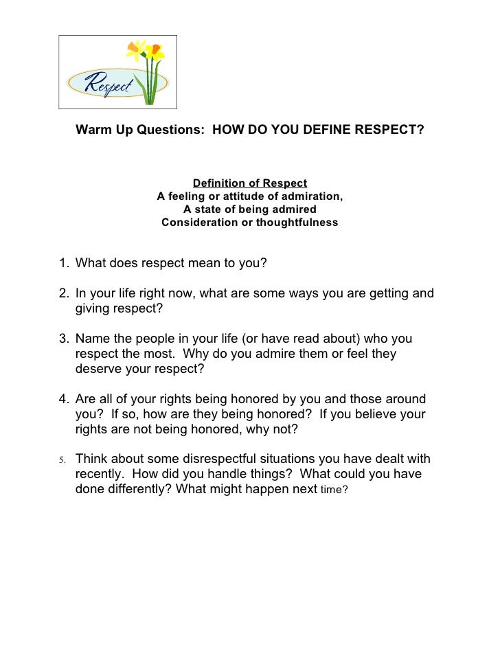 what does respect mean in a relationship