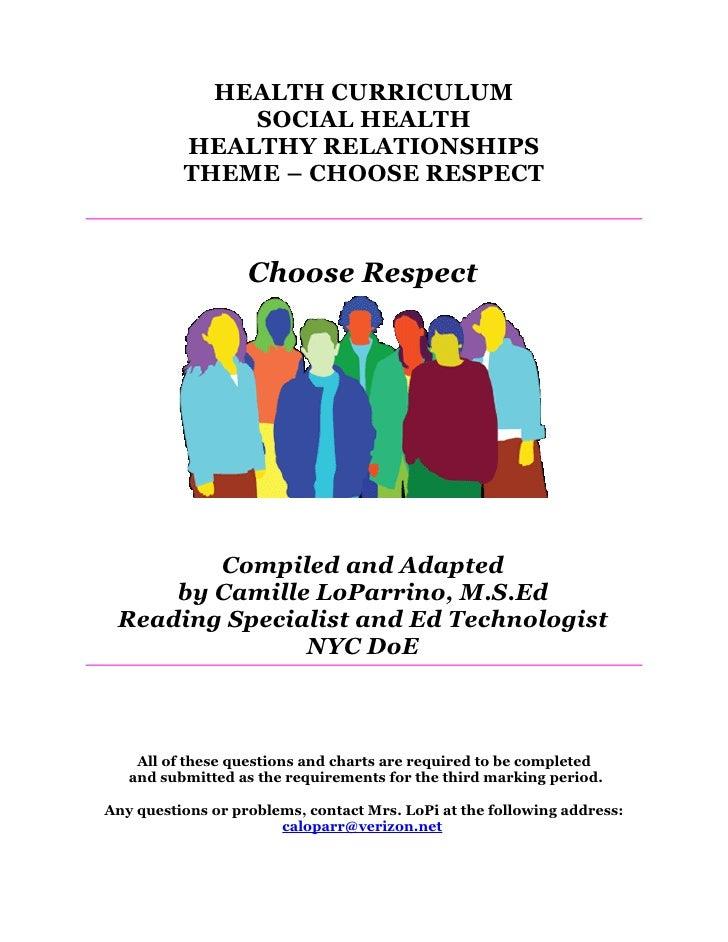 Choose Respect Healthy Relationship Mini Unit