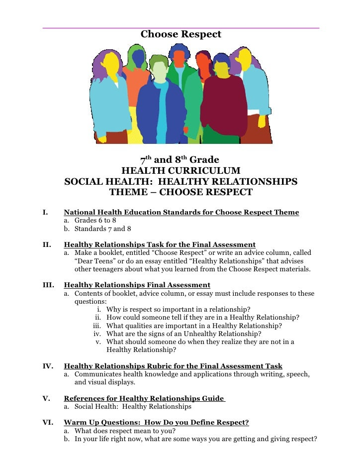 Choose Respect                        7th and 8th Grade                 HEALTH CURRICULUM        SOCIAL HEALTH: HEALTHY RE...