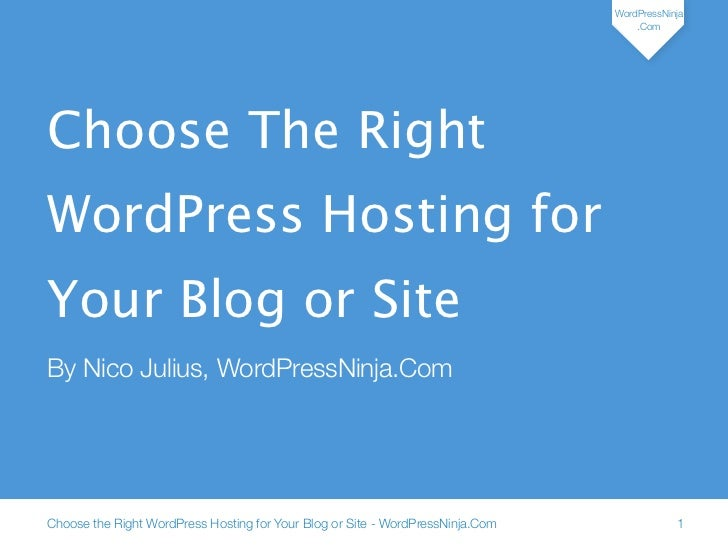 Choose the right wp hosting