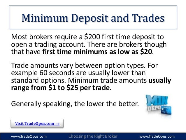 Minimum deposit binary option brokers