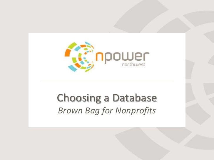 Choosing a DatabaseBrown Bag for Nonprofits