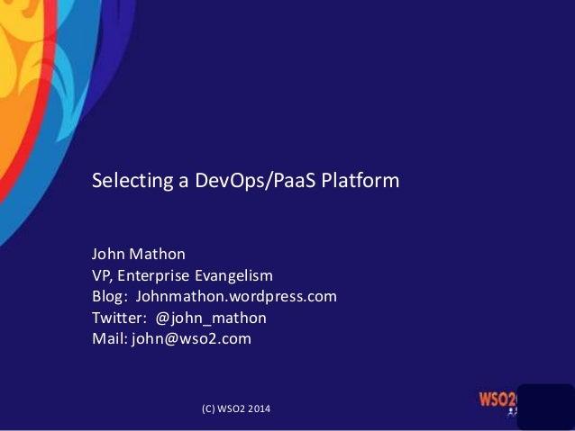 Selecting a DevOps/PaaS Platform John Mathon VP, Enterprise Evangelism Blog: Johnmathon.wordpress.com Twitter: @john_matho...