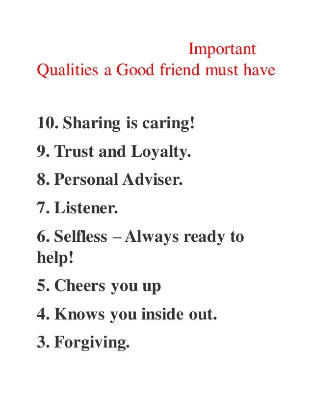 Characteristics of a good friend essay
