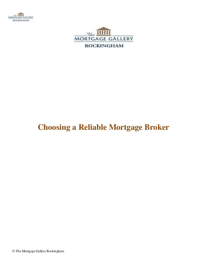 Choosing a Reliable Mortgage Broker