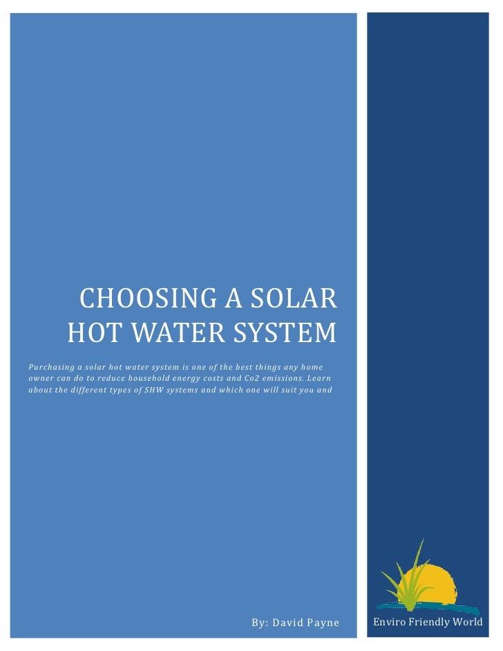 Choosing a solar hot water system