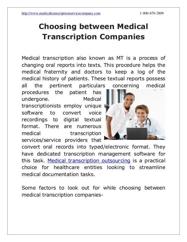 Choosing between medical transcription companies
