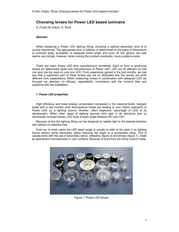 """Furlan, Kobav, Širca:""""Choosing lenses for Power LED based luminaire""""       Choosing lenses for Power LED based luminaire  ..."""