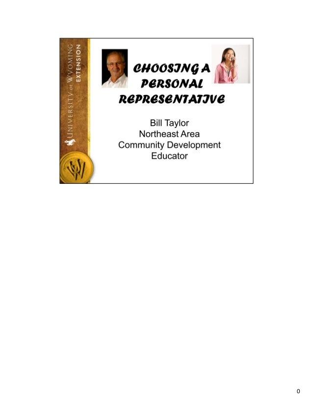Choosing your personal representative