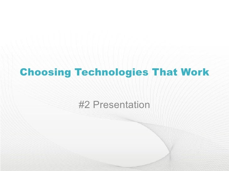 Choosing Ed Tech- Presentations