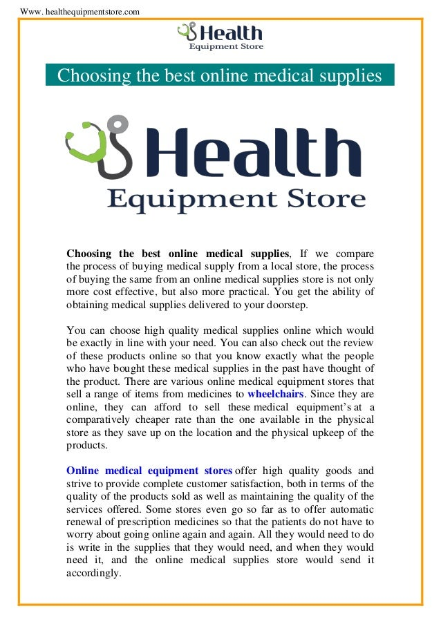 Medical supplies online shopping