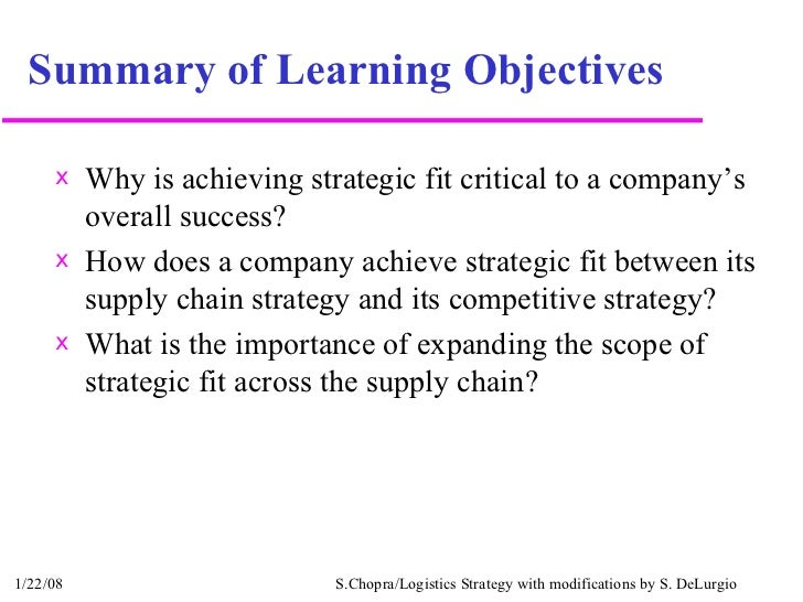 Summary of Learning Objectives <ul><li>Why is achieving strategic fit critical to a company's overall success? </li></ul><...