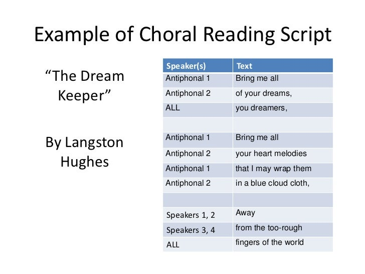 Where i can i find example essays of choral speaking?