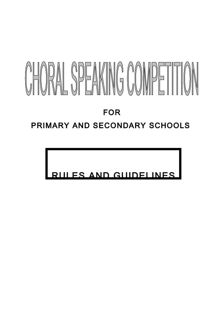 FORPRIMARY AND SECONDARY SCHOOLS   RULES AND GUIDELINES