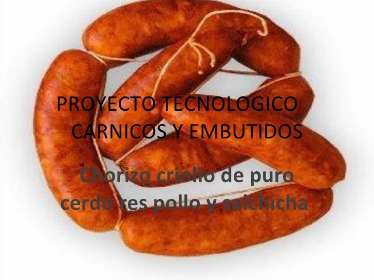PROYECTO TECNOLOGICO CARNICOS Y EMBUTIDOS Chorizo criollo de puro cerdores pollo y salchicha