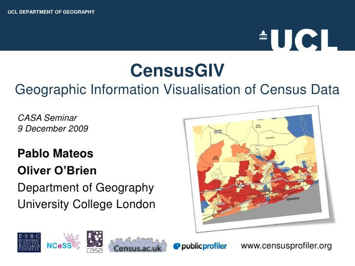 CensusGIV - Geographic Information Visualisation of Census Data