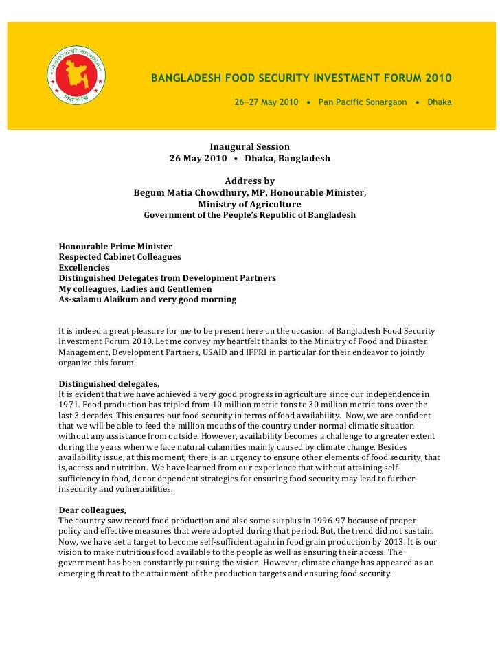 BANGLADESH FOOD SECURITY INVESTMENT FORUM 2010                                                 26−27 May 2010 • Pan Pacifi...