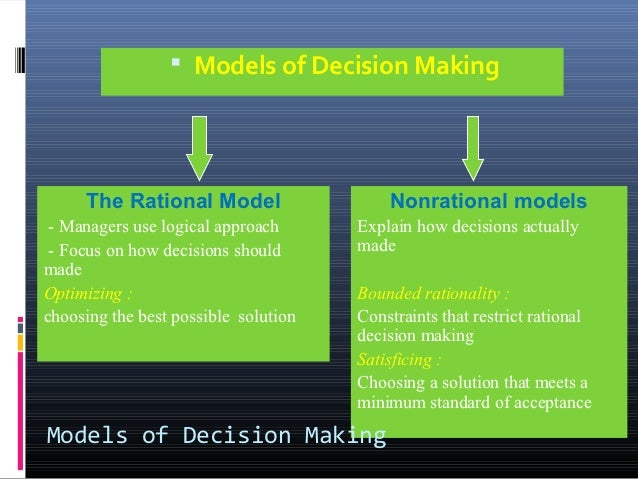 the rational model of decision making and simon s normative model Rational decision-making model the rational planning model is a a simon sees economic decision-making as a jago normative decision model helps to.