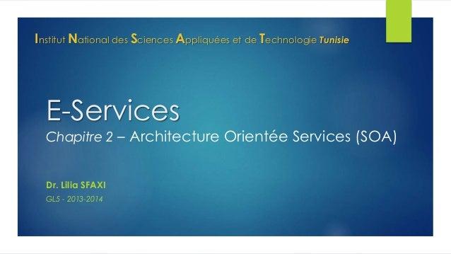 Institut National des Sciences Appliquées et de Technologie Tunisie  E-Services  Chapitre 2 – Architecture Orientée Servic...