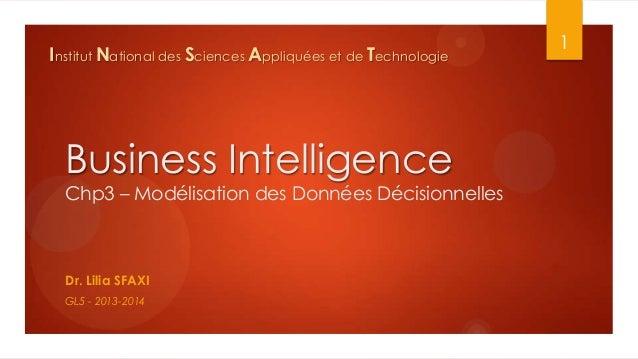 Institut National des Sciences Appliquées et de Technologie  Business Intelligence Chp3 – Modélisation des Données Décisio...