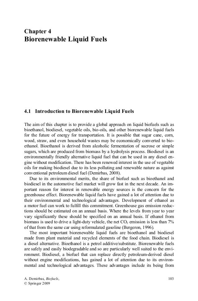 Chapter 4  Biorenewable Liquid Fuels  4.1 Introduction to Biorenewable Liquid Fuels The aim of this chapter is to provide ...