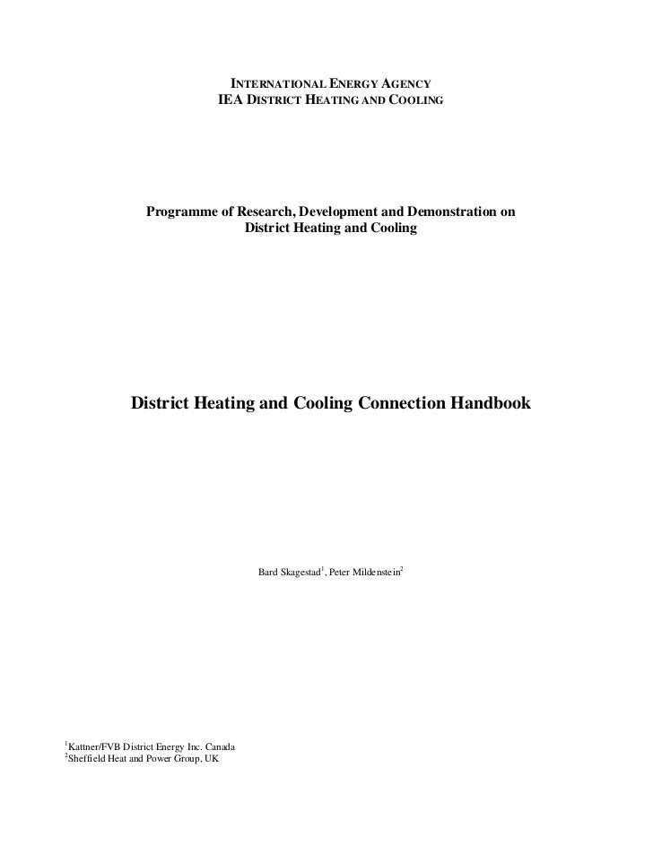 INTERNATIONAL ENERGY AGENCY                                       IEA DISTRICT HEATING AND COOLING                      Pr...