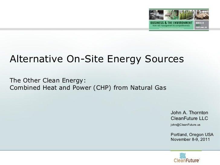 CHP / Cogeneration As An Alternative Energy Resource