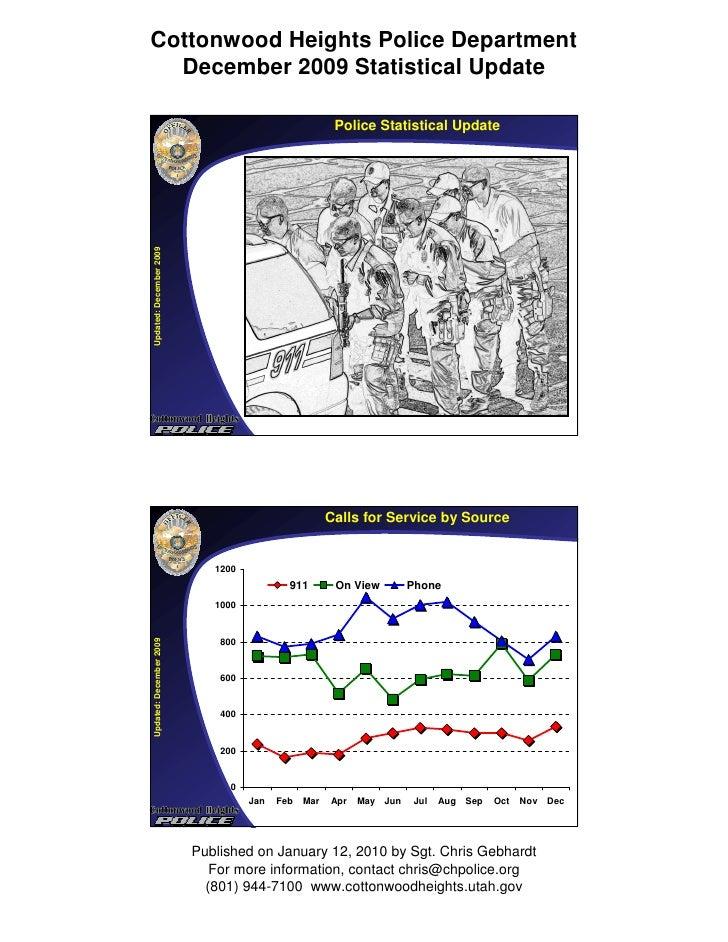 Cottonwood Heights Police Department   December 2009 Statistical Update                                                   ...