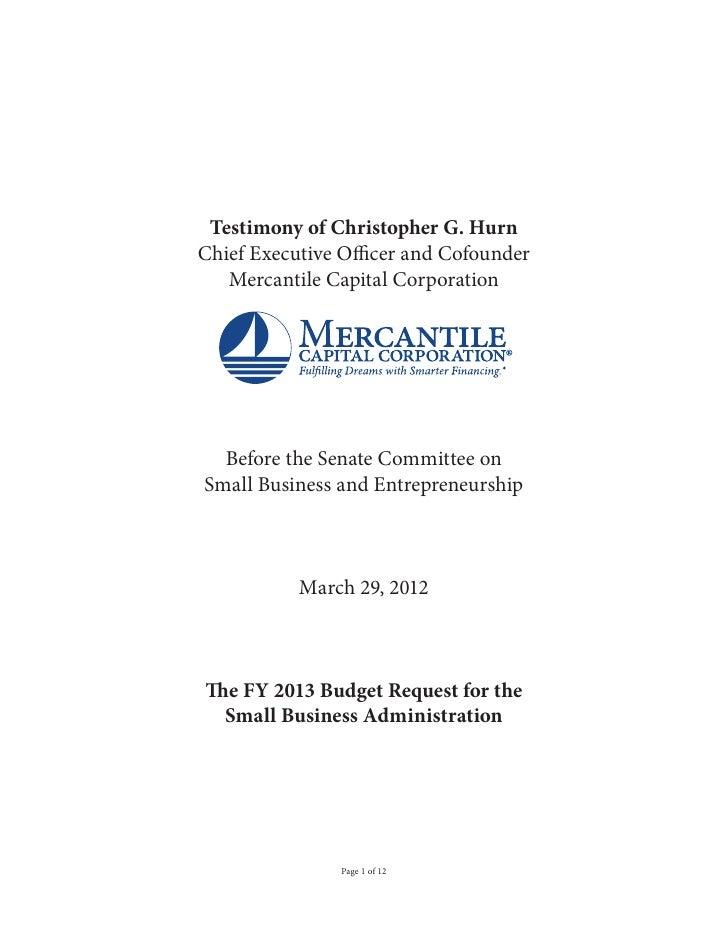 Chris Hurn Testimony for Senate Subcommittee on Small Business and Entrepreneurship on SBA Budget 504 Loans