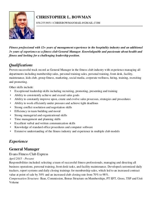 Resume for fitness industry