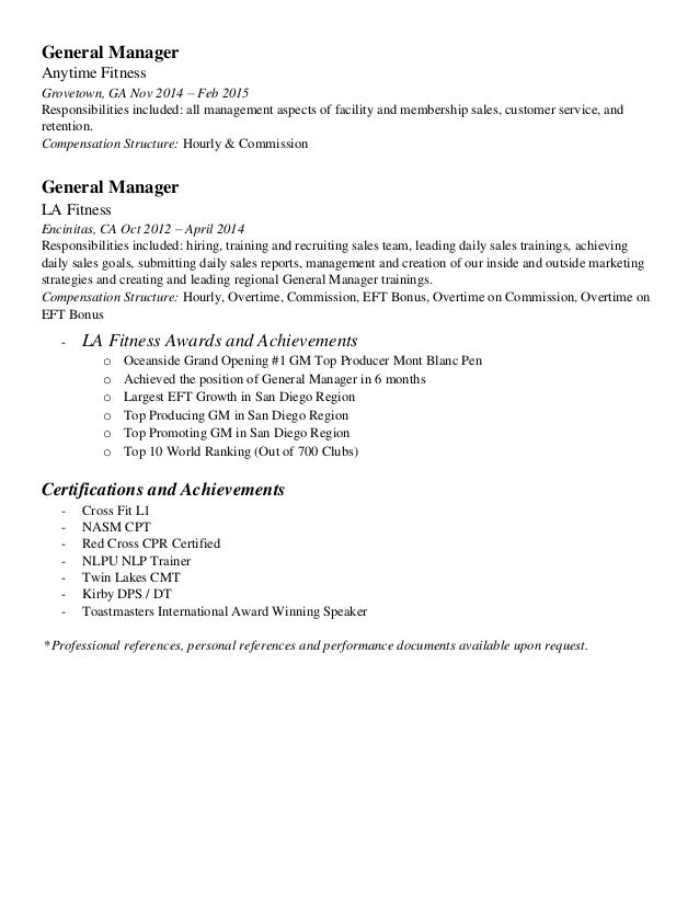 fitness manager resume