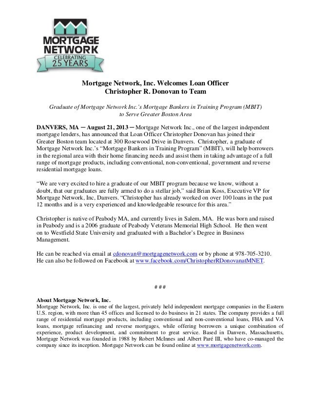 Mortgage Network, Inc. Welcomes Loan Officer Christopher R. Donovan to Team Graduate of Mortgage Network Inc.'s Mortgage B...