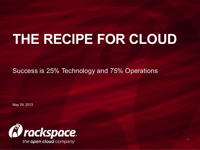 Success is 25% Technology and 75% Operations1THE RECIPE FOR CLOUDMay 29, 2013