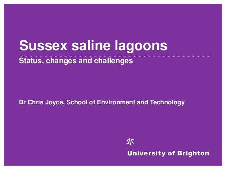 Sussex saline lagoonsStatus, changes and challengesDr Chris Joyce, School of Environment and Technology
