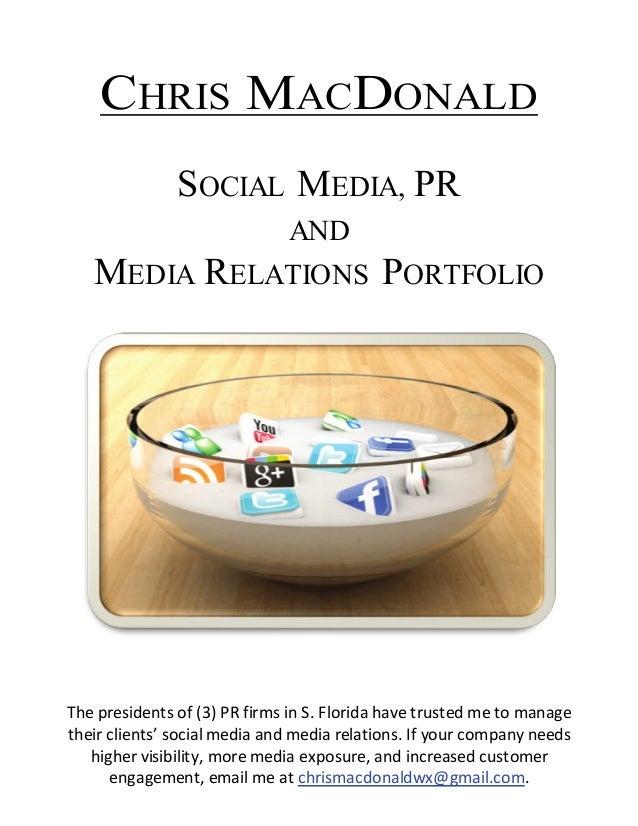 Chris MacDonald's Portfolio: Social Media, Media Relations & PR
