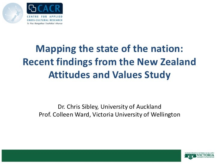 Mapping the state of the nation:Recent findings from the New Zealand     Attitudes and Values Study          Dr. Chris Sib...