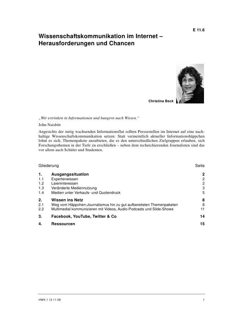 E 11.6Wissenschaftskommunikation im Internet –Herausforderungen und Chancen                                               ...