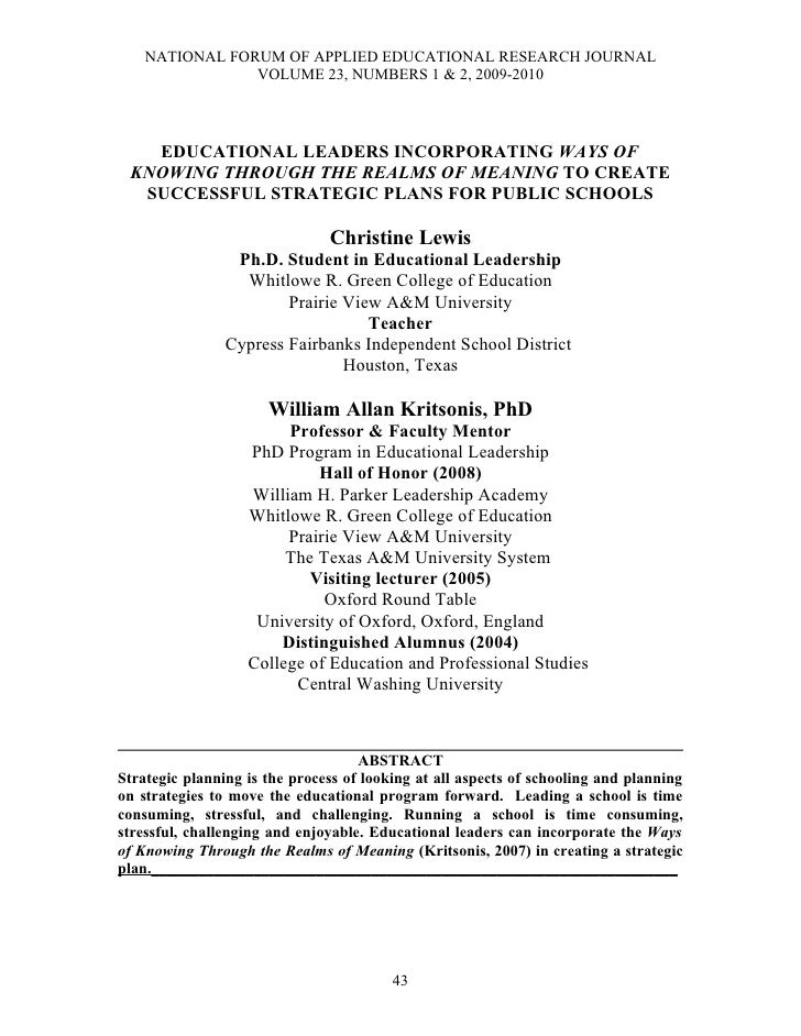 NATIONAL FORUM OF APPLIED EDUCATIONAL RESEARCH JOURNAL                 VOLUME 23, NUMBERS 1 & 2, 2009-2010       EDUCATION...